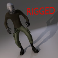 3d rigged gas mask character