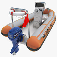 rigid inflatable boat obj