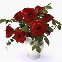 3d model roses red bouquet