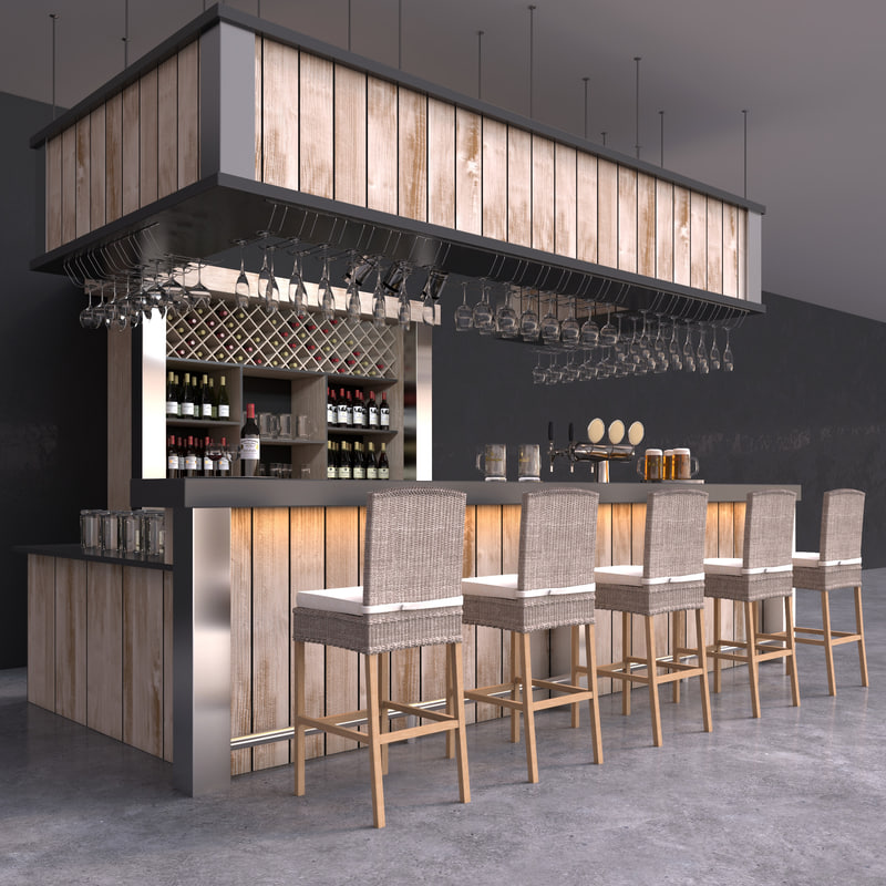 3d model bar beer tap wine bottles. Black Bedroom Furniture Sets. Home Design Ideas