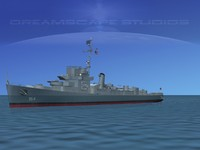3d model of guns buckley class destroyer