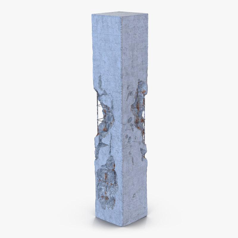 Concrete Pillar Damaged 3ds 3d model 01.jpg