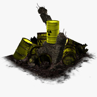 3d model barrel radioactive waste -