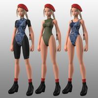 3d original girl army mbe02 model