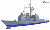 uss port royal cg-73 3d model