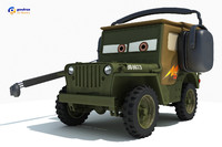 3d model sarge characters cars 2