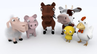 3d farm animals model