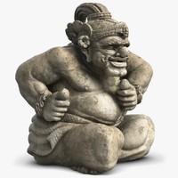 3d model statue bali guard 3