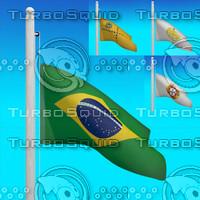 3d model flags brazil -