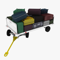 3d model of clyde 15f2900 baggage cart