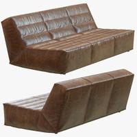 restoration hardware chelsea leather sofa 3d max