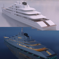 3d model super yacht azzm