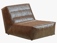 3d restoration hardware chelsea leather chair