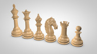 3d chess pieces set model