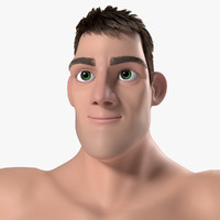 man superhero bodybuilder cartoon 3d ma