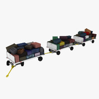 3d clyde baggage carts loaded