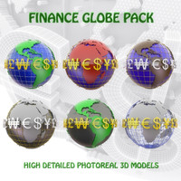3d model of pack finance globes
