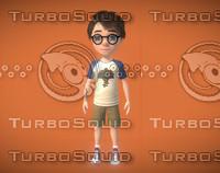 3d fbx little genius boy