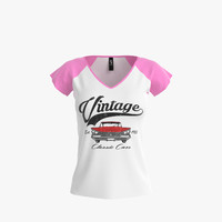 3d model v-neck shirt women