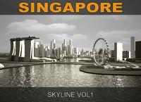 singapore skyline c4d