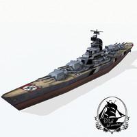 3d bismarck class battleships model