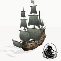 3d medieval galleon