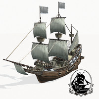 3d model medieval galleon