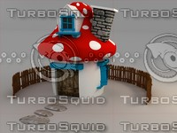 mushroom house cartoon 3d model