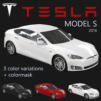electric sedan tesla s 3d model