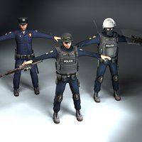 Policeman x3 T-Pose