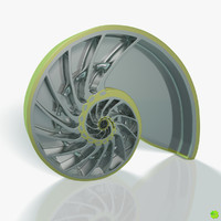 sculpture metallic nautilus shell 3d obj