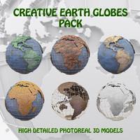 pack creative globes 3d model