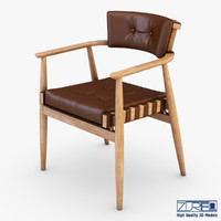 3d model leather chair brown