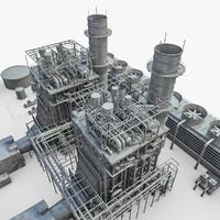 gas turbine plant 3d obj