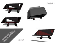 bench set table 3d model