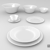 A set of Plates Bowls and a Cup
