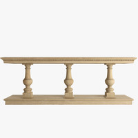 15th oak console table 3d max
