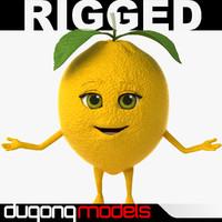 3d dugm07 rigged cartoon lemon model