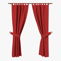 3d model red curtain