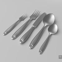 3d model set cutlery
