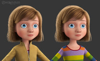 cartoon hair girl 3d model