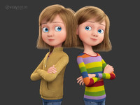 3d model cartoon rigged girl
