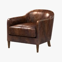 restoration hardware 1950S FRENCH TUXEDO LEATHER CLUB CHAIR