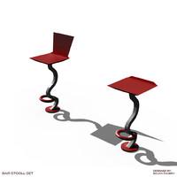 bar stool set 3d obj