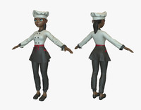 3d max cartoon cook girl