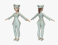 cartoon cook girl 3d max