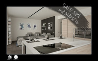 3d scene modern living room interior