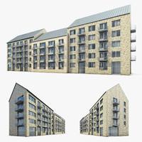 3d residential building exterior model
