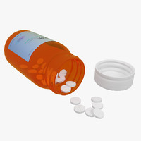 3d bottle pills model