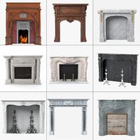 3d grand fireplaces set